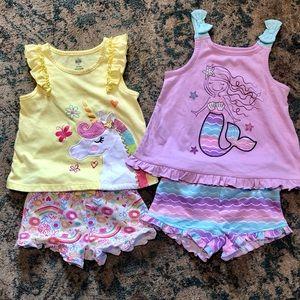 Bundle of summer shorts mermaid & unicorn outfits